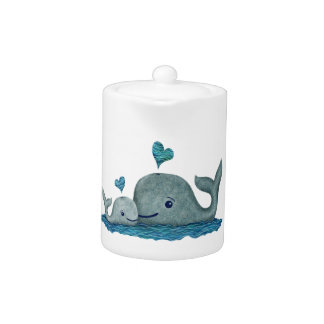 Whale Mom and Baby Swimming in the Sea Teapot