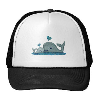 Whale Mom and Baby Swimming in the Sea Trucker Hat
