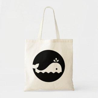 Whale moon budget tote bag