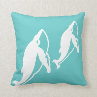 whale mother and baby on  blue pillow