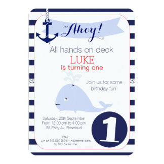 Whale Nautical 1st Birthday Invitation