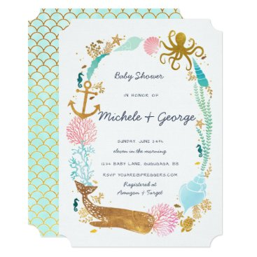Toddler & Baby themed Whale Nautical Baby Shower Invitation