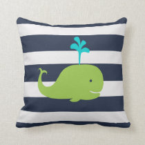 Whale Nautical pillow in Navy Blue Green and White