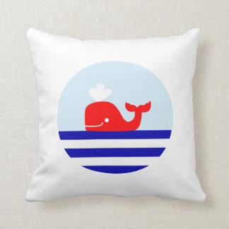 Whale Nautical Print Cushion