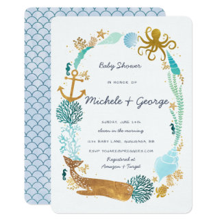 Whale Ocean Baby Shower Invitation