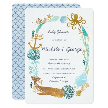 Toddler & Baby themed Whale Ocean Baby Shower Invitation