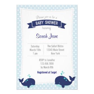 Whale Ocean Baby Shower Invitation Polkadot Blue Announcements