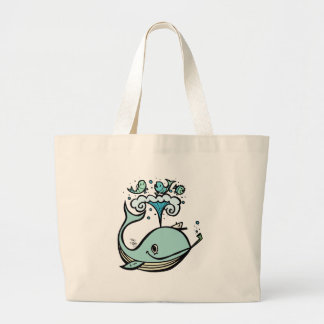 Whale of a Captain! by Tiki tOny Jumbo Tote Bag