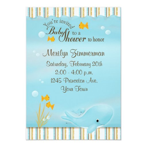 "Whale of a great Baby Shower invitation 5"" X 7"" Invitation Card"