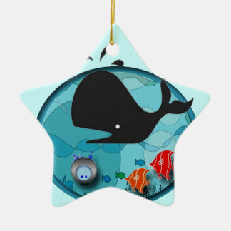 Whale of a Holiday Double-Sided Star Ceramic Christmas Ornament