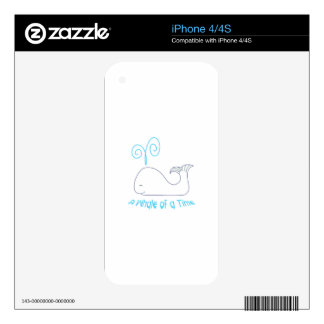 Whale Of Time Applique Skins For iPhone 4S
