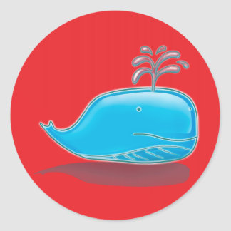Whale on Red Round Stickers