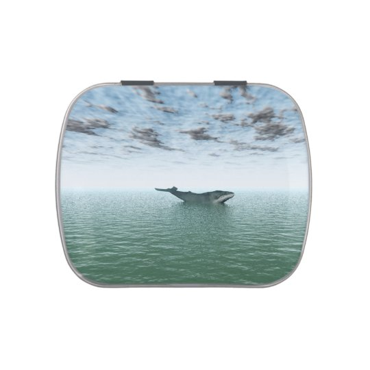 Whale on the ocean candy tin