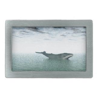 Whale on the sea rectangular belt buckle