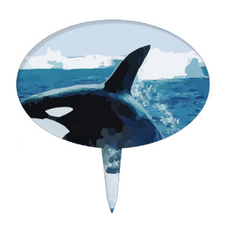 Whale Orca  Water Animal Sea Ocean Fish Peace Love Cake Topper