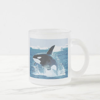 Whale Orca  Water Animal Sea Ocean Fish Peace Love Frosted Glass Coffee Mug