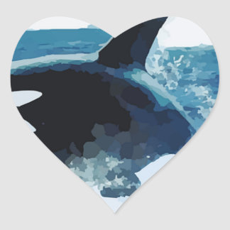 Whale Orca  Water Animal Sea Ocean Fish Peace Love Heart Sticker