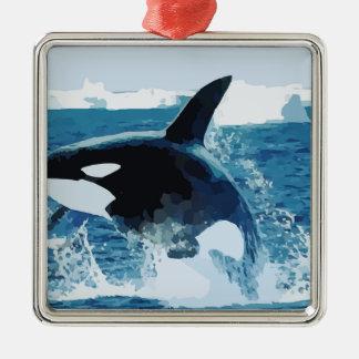 Whale Orca  Water Animal Sea Ocean Fish Peace Love Square Metal Christmas Ornament