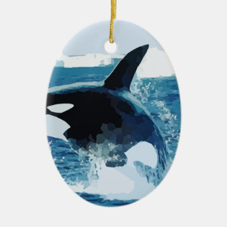 Whale Orca Water Animal Sea Ocean Fish Peace Love Christmas Tree Ornaments