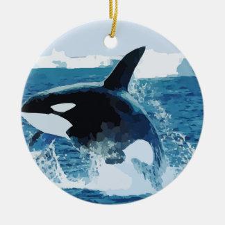 Whale Orca Water Animal Sea Ocean Fish Peace Love Christmas Ornaments