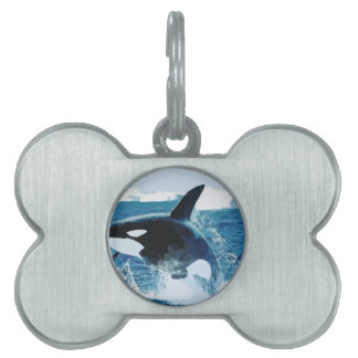 Whale Orca  Water Animal Sea Ocean Fish Peace Love Pet Name Tag