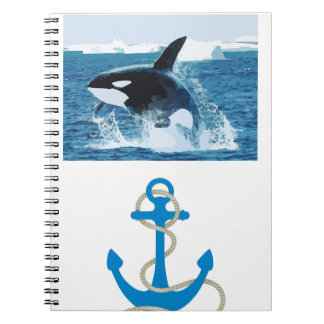 Whale Orca  Water Animal Sea Ocean Fish Peace Love Spiral Notebook
