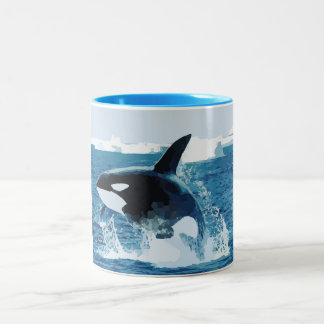 Whale Orca  Water Animal Sea Ocean Fish Peace Love Two-Tone Coffee Mug