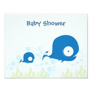 Whale Organic Planet Baby Shower Invitaitons Card