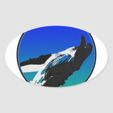 Beach Themed Whale Oval Sticker