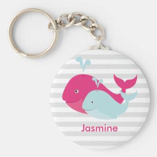 Whale Pals Basic Round Button Keychain
