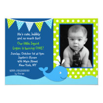 Whale Photo Birthday Party Invitations