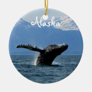 Whale Playtime; Alaska Ceramic Ornament