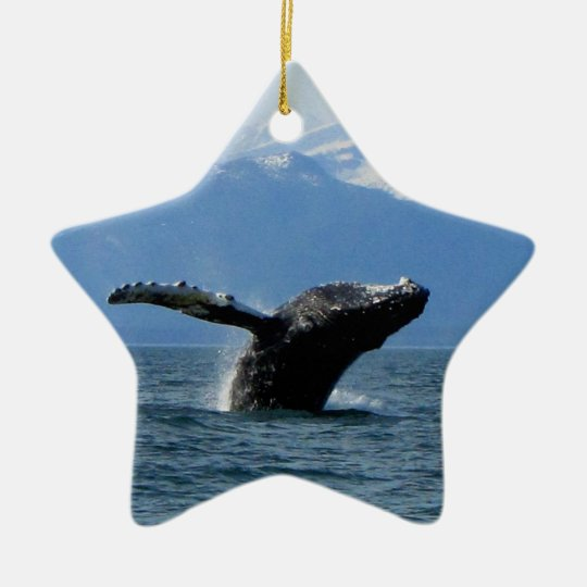 Whale Playtime Ceramic Ornament