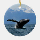 Whale Playtime; No Text Double-Sided Ceramic Round Christmas Ornament