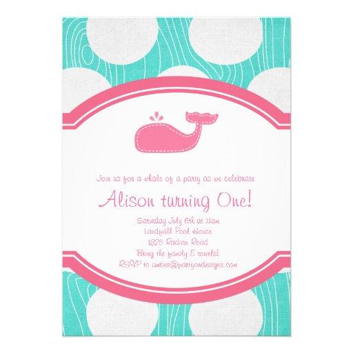 Whale Polka Dot Pool Party Aqua and pink modern Custom Announcement