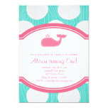 Whale Polka Dot Pool Party Aqua and pink modern 5x7 Paper Invitation Card