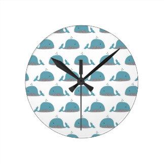 Whale Print Round Clock