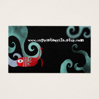 Whale red elegance sea waves gold business card