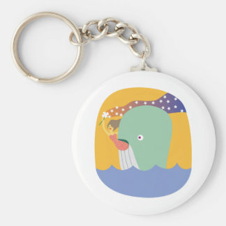 whale ride basic round button keychain