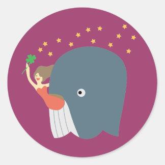 whale ride classic round sticker