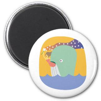 whale ride fridge magnet