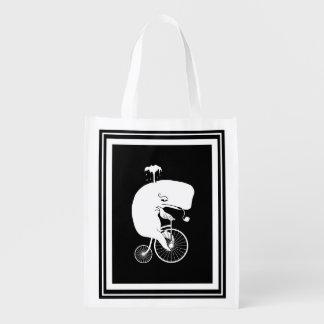 Whale Rider on High Wheel Bike Grocery Bag