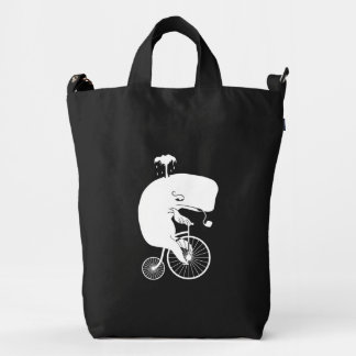 Whale Rider on Vintage Penny Farthing Bike Duck Bag