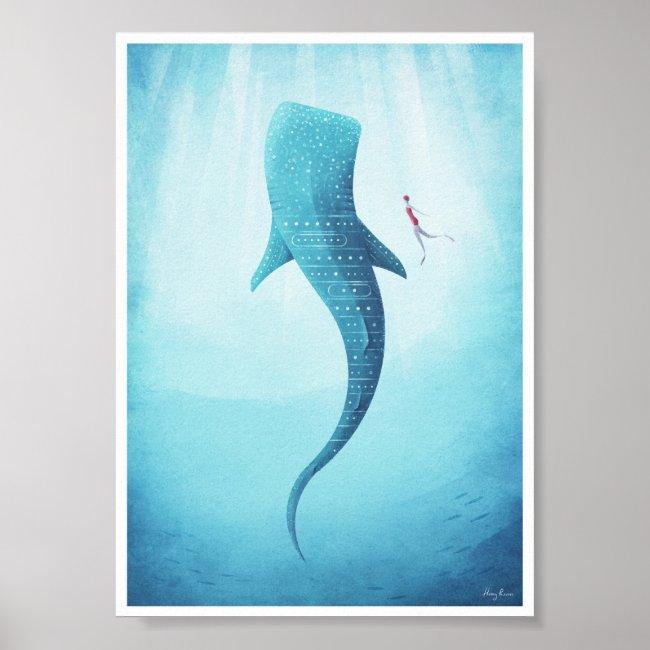 Whale Shark Vintage Poster