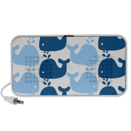 Whale Silhouette Print Doodle Travel Speakers