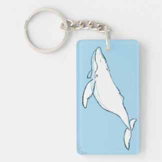 Whale Single-Sided Rectangular Acrylic Keychain