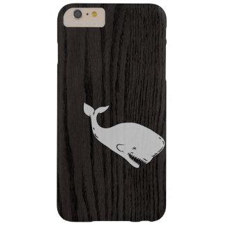 Whale Sketch On Dark Woodgrain iPhone 6 Plus Case