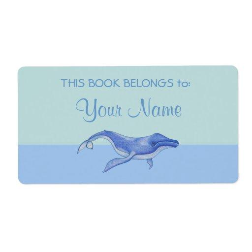 Whale solo Bookplate Sticker Label