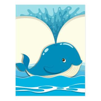 Whale splashing water out postcard