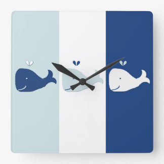 Whale Square Wall Clock